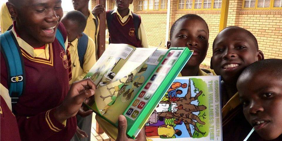 Schoolchildren with Speaking Books.