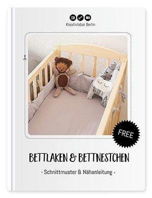 Beitragsbild für das Schnittmuster & Nähanleitung für ein Bettlaken und Bettnestchen.