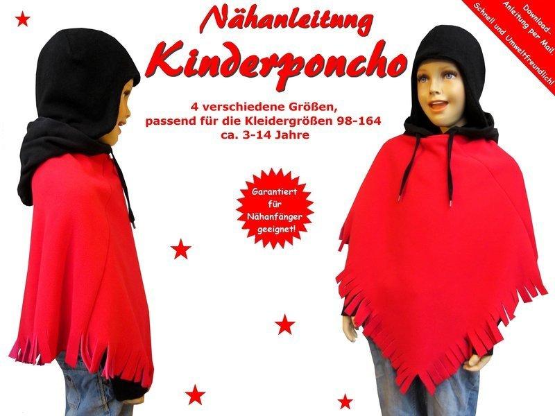 Coverbild der Nähanleitung für einen Kinder Poncho passend für die Kleidergrößen 98-164 von Trash Monstarz
