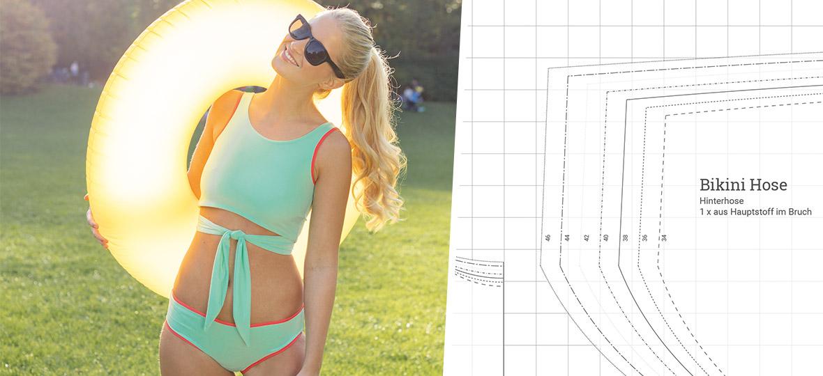 Gratis Schnittmuster Bikini (Gr. 34-46) von stoffe.de – Für den Sommer nähen