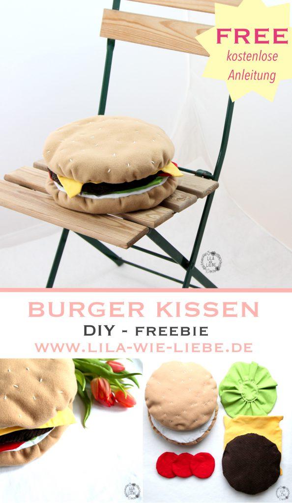 Nähanleitung für ein Burger Sitzkissen von Lila wie Liebe – Ideal für Garten-Parties