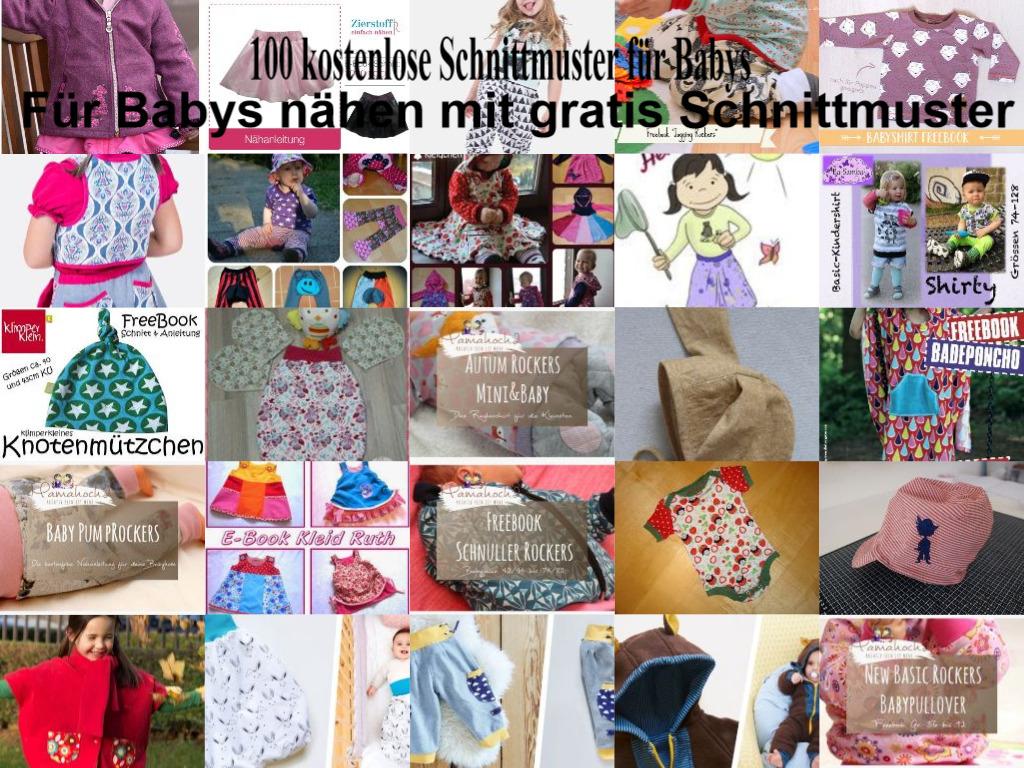 100 kostenlose Schnittmuster für Babys - Collage von Free Patterns.