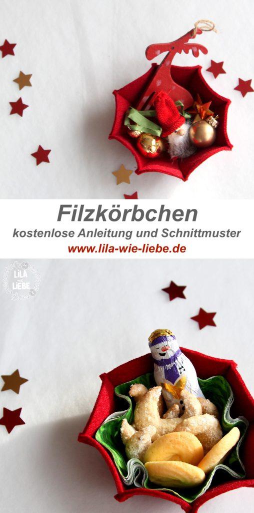 Kostenloses Schnittmuster für ein weihnachtliches Filzkörbchen von Lila wie Liebe