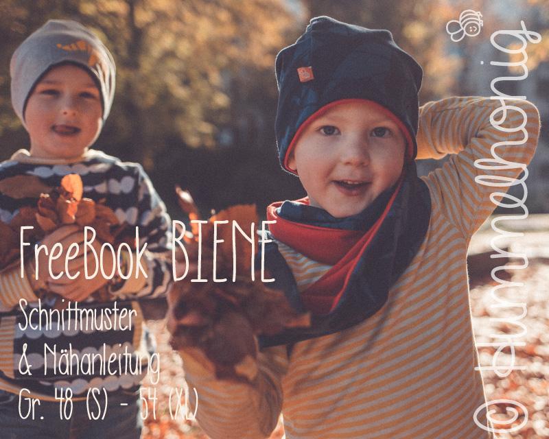 Kostenlose Schnittmuster für Kinder Beanie & Loop BIENE (Gr. 48-54) von Hummelhonig