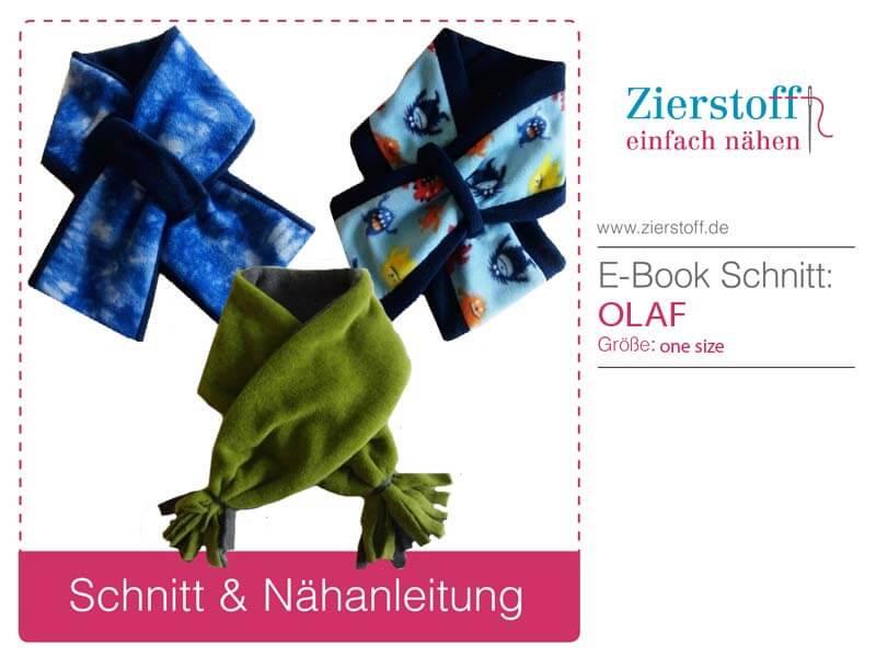 """Kostenlose Nähanleitung für Schals """"OLAF"""" (Gr. 1-3 & 3+ Jahre) von Zierstoff"""