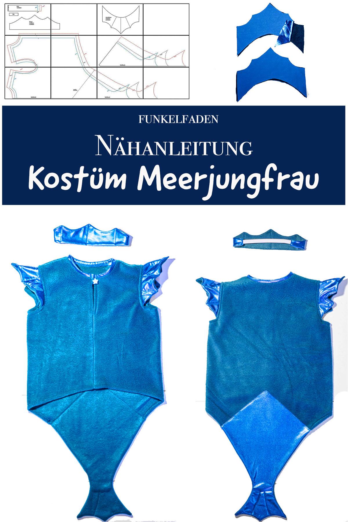 Schnittmuster für Kinderkostüm Meerjungfrau / Wassermann (Gr. 86-116) von Funkelfaden