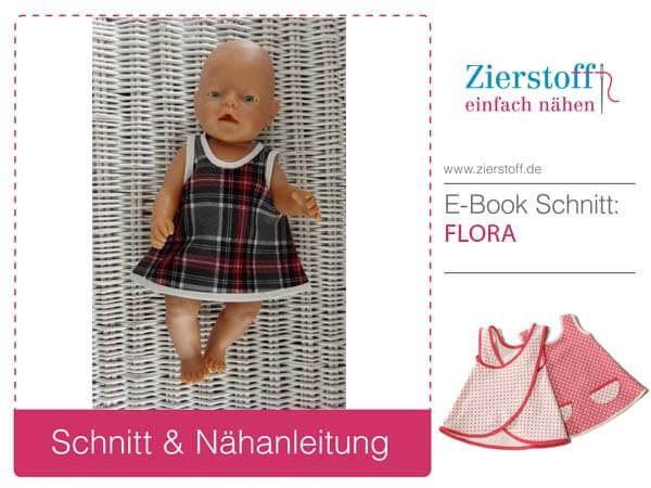 """Schnittmuster für Puppen Kittelkleid """"FLORA"""" in drei Größen von Zierstoff"""