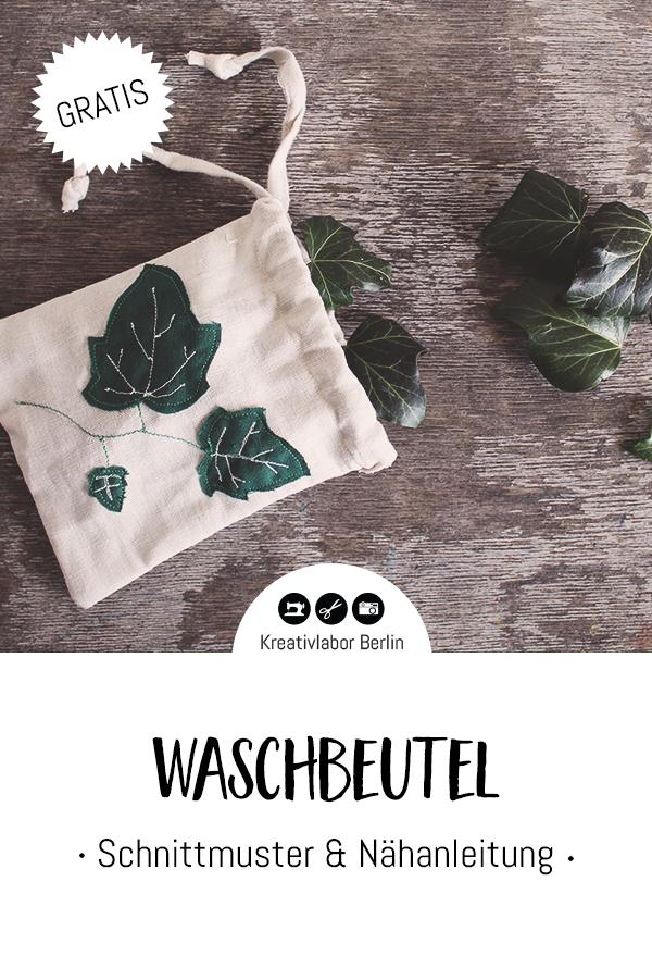 Kostenloses Schnittmuster für Waschbeutel für Efeu-Blätter von Kreativlabor Berlin