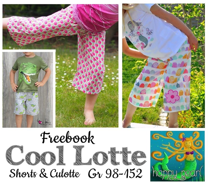 Gratis Schnittmuster für Shorts & Culotte (Gr. 98-152) von Happy Pearl