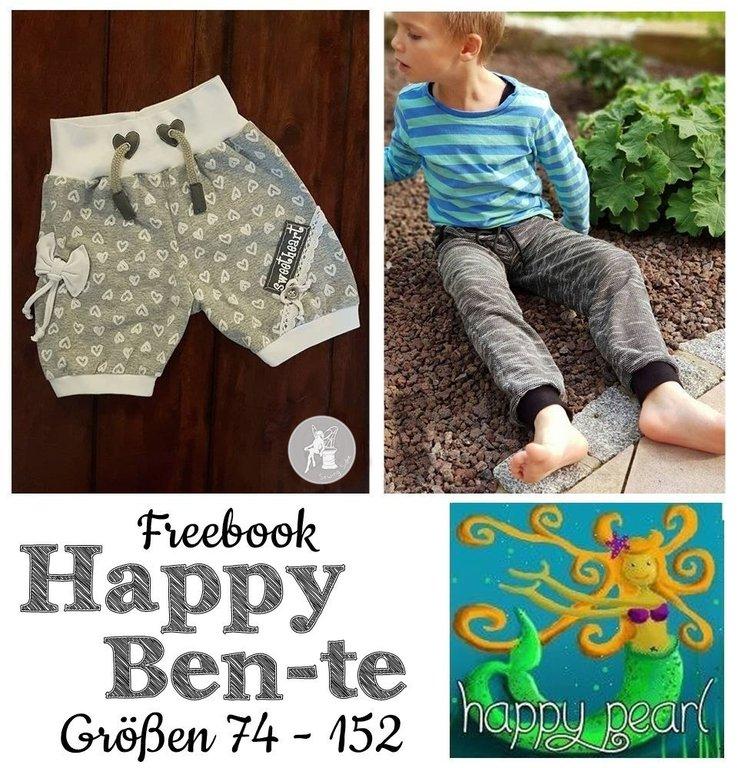 """Kostenloses Schnittmuster Kinderhose """"Happy Ben(te)"""" (Gr. 74-152) von Happy Pearl"""
