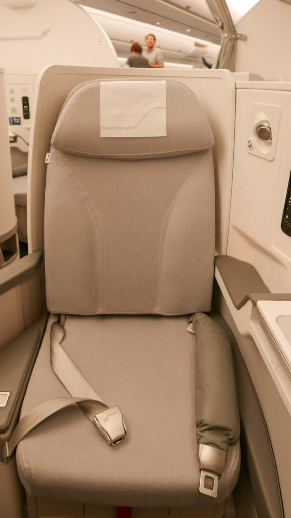 Quite a narrow seat and no privacy shield at eye level, unlike Cathay and AA