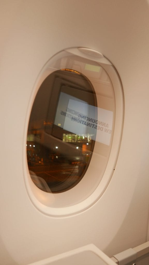 Extra large windows like the Dreamliner, however these ones have solid blinds which pax can control for themselves