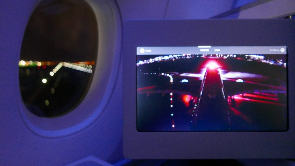 Turning onto the runway: as seen from the tailcam