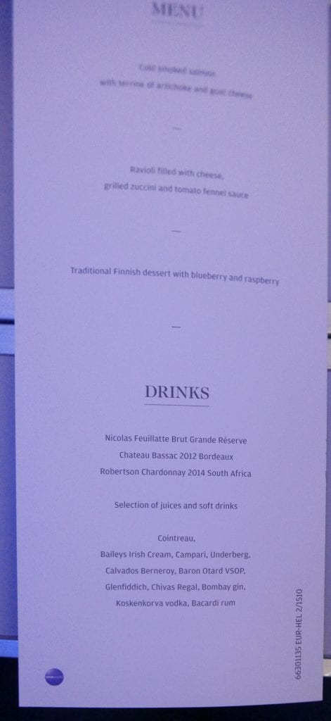 It was nice to get a menu on a short flight, even though the menu wasn't actually representative of the main course choices. Instead the FA told me that there was pasta, or a 'chicken thing'.