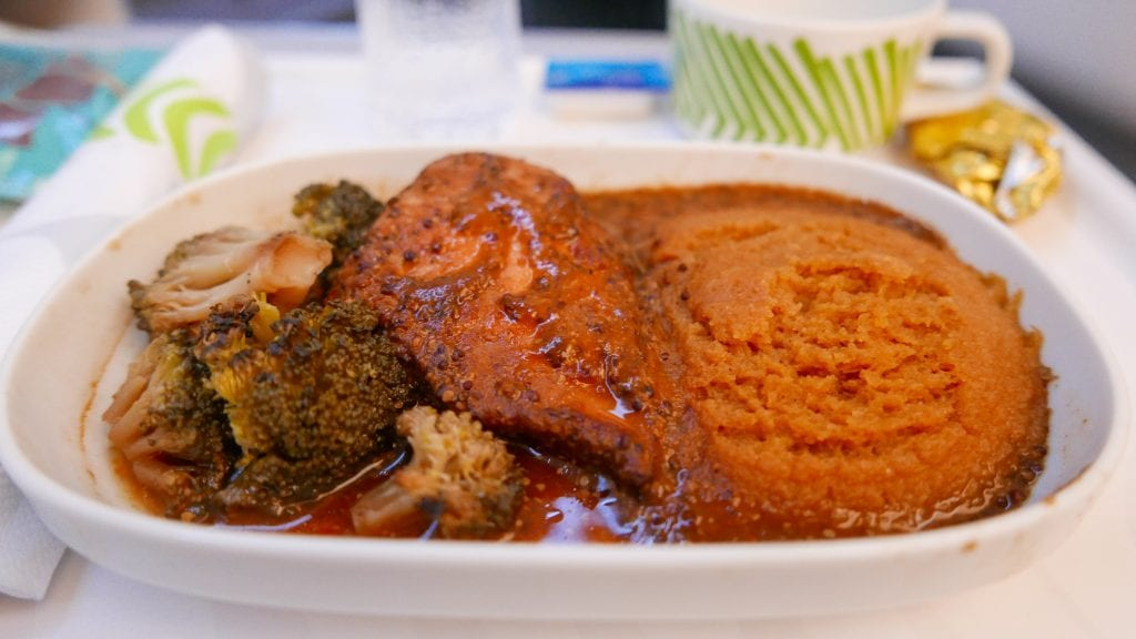The 'chicken thing' was pretty chewy and unappealing, the broccoli well over cooked