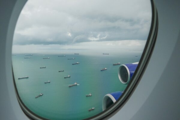 Approaching Singapore on the BA A380
