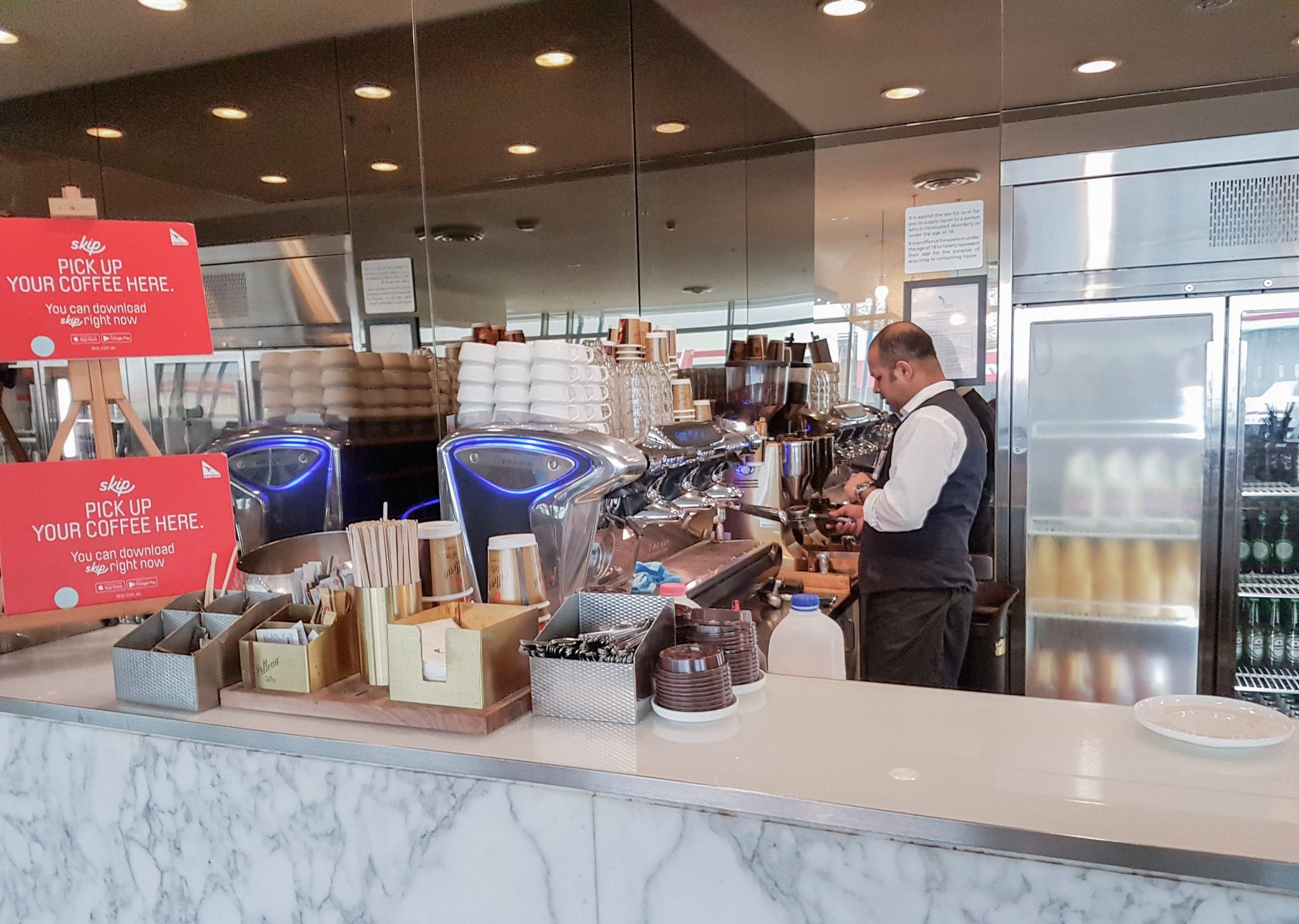 One of my favourite features of Qantas lounges is the freshly made barista coffee...