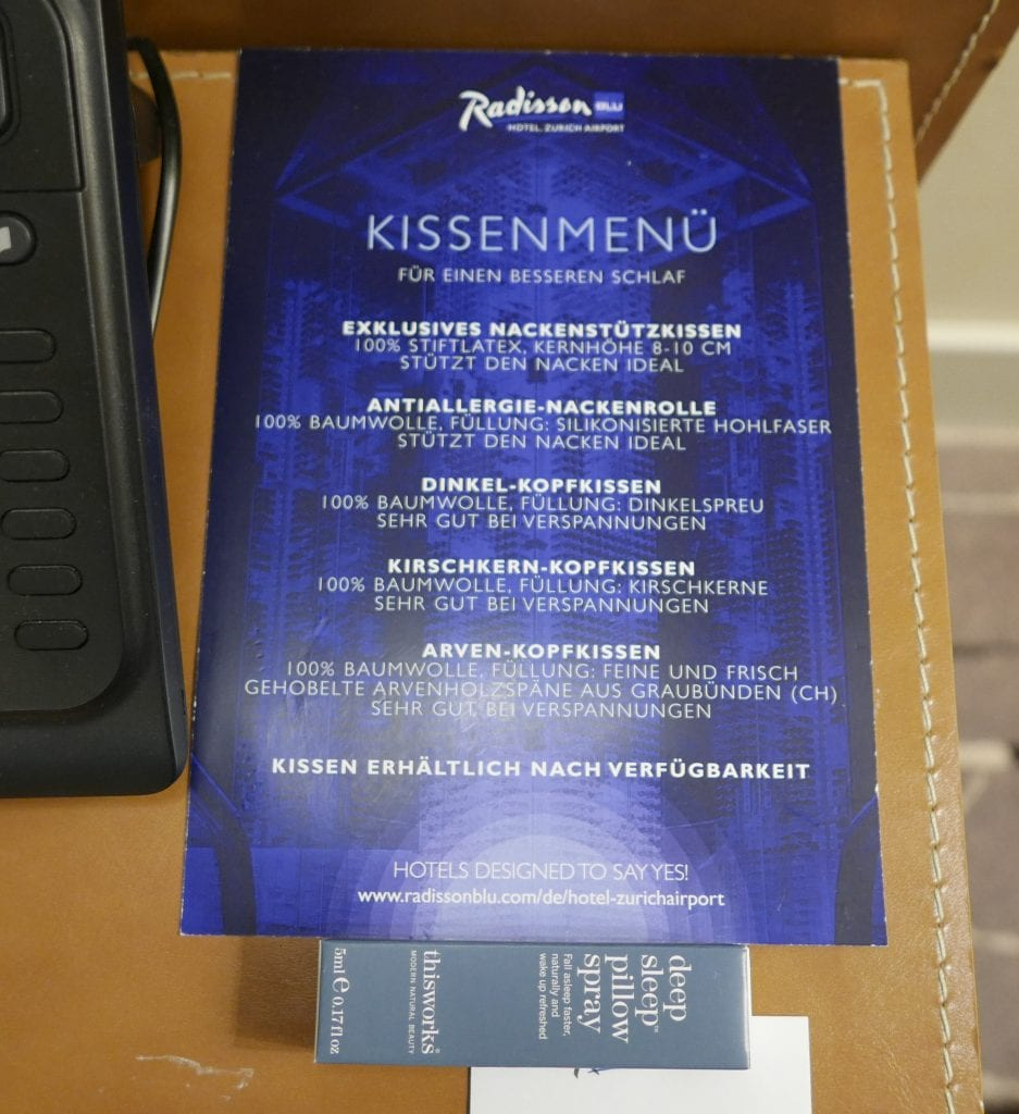 radisson blu zrh pillow menu