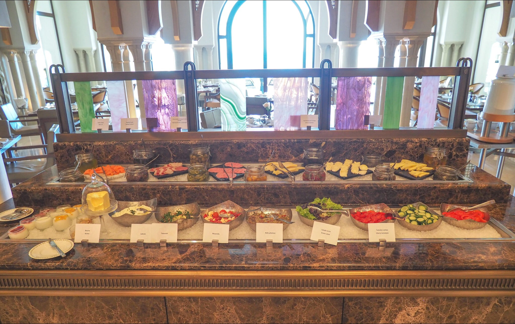 Fresh salads, cold cuts and yoghurt parfaits