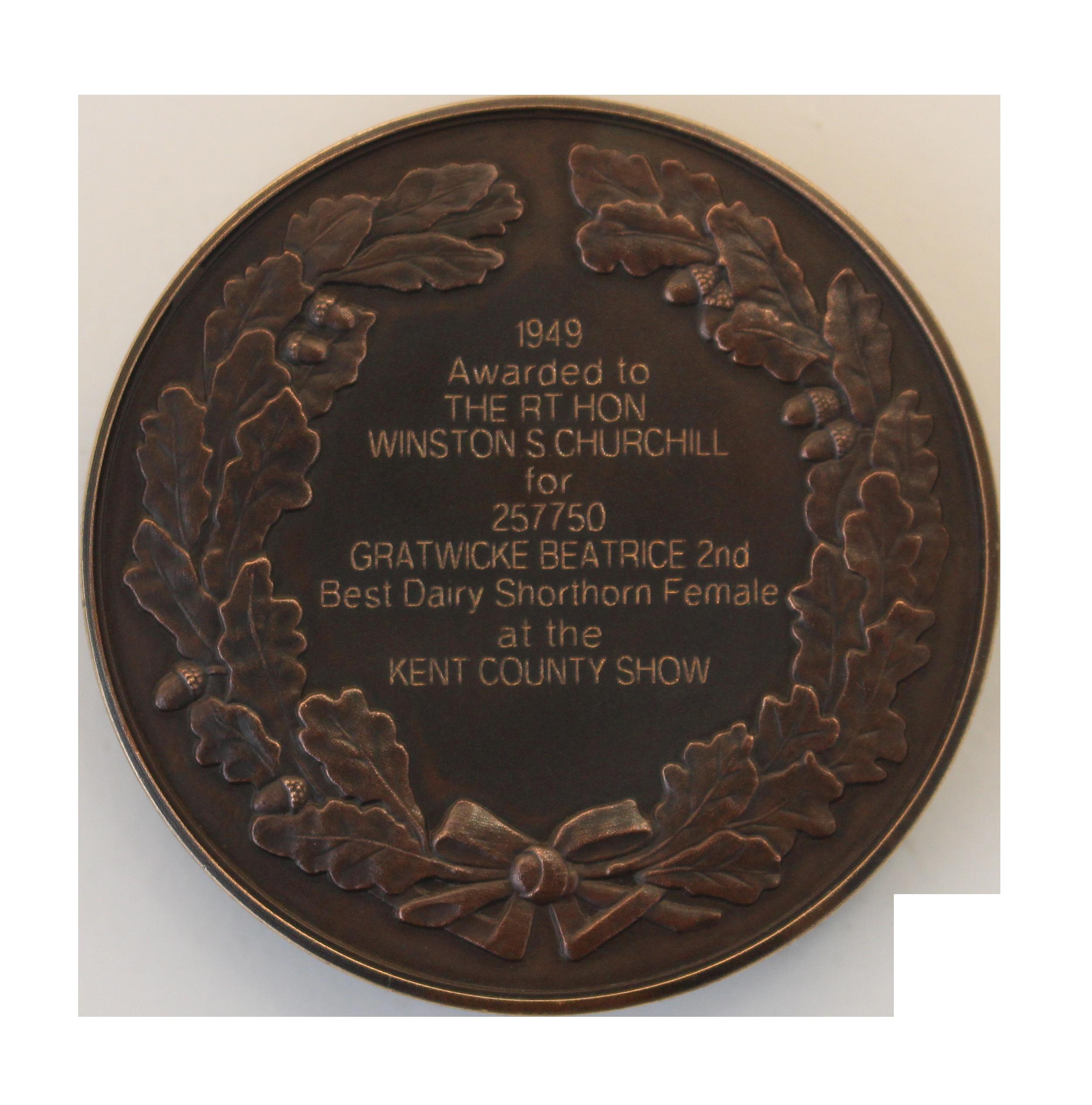 National Trust. Winston Churchill's Shorthorn Cow Medal Reverse