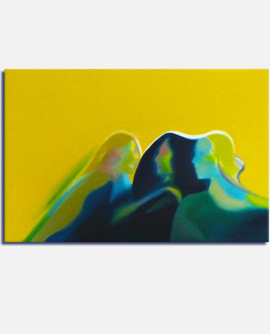 Semi abstract oil painting of sisters together, title Sisters