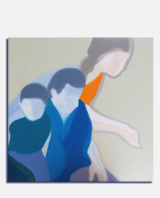 Semi abstract oil painting of a family group portrait, title Together