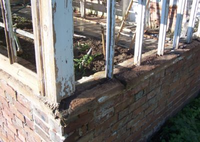 Green house rotten cill close up,before works started. SA Spooner