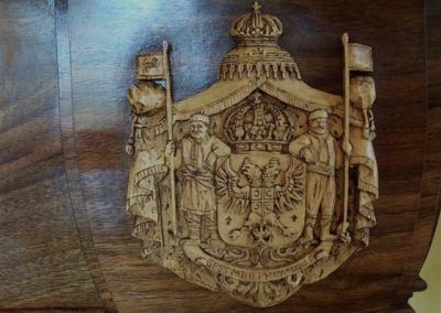 "A close up of Box wood 'Coat of Arms "" this can be seen i our Fireplace section. SASPOONER"