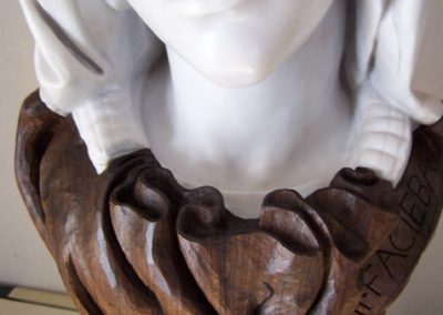 Copy of Michelangelo's Pieta head, purchased from the Vatican. The Bust required a support and a means of personalising the clients name and  anniversary.  SASPOONER