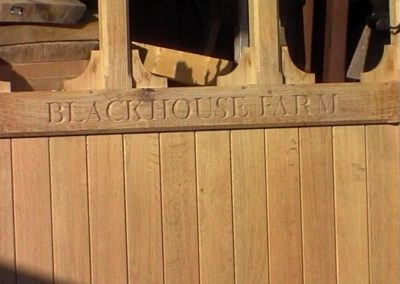 Letter carving on an Oak Gate. SASPOONER
