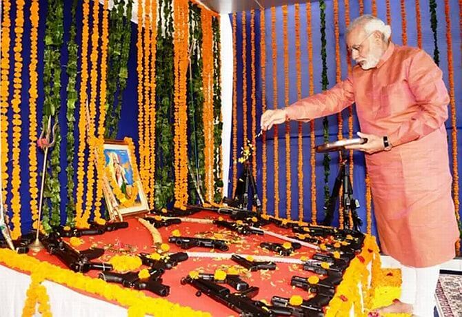 Narendra Modi Gujarati Prime Minister regularly engages in weapon worship during Ayudh Puja The Bastion