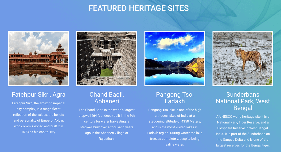 Some of the featured heritage sites under the programme.
