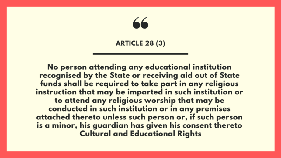 Article 28 (3) Indian Constitution
