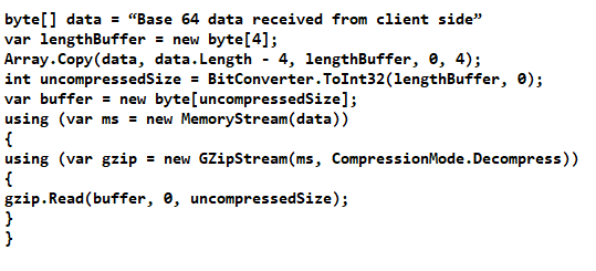 using GZipStream and pako for compression decompression
