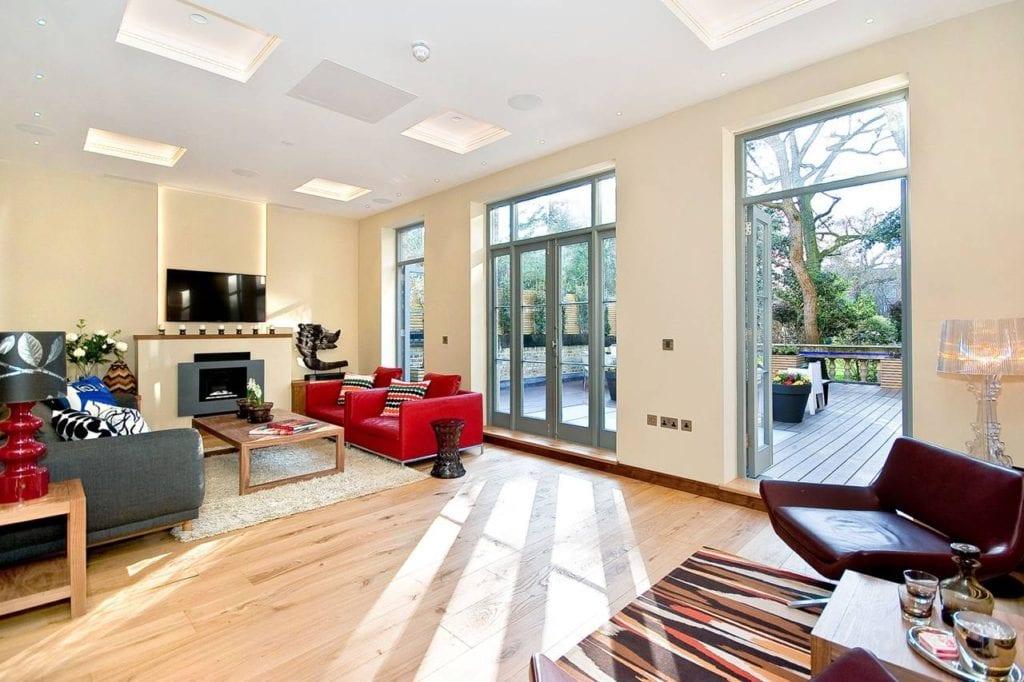Rutland Gate – lounge doors opened onto decking