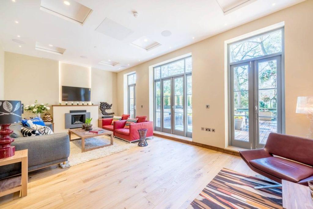 Rutland Gate – lounge windows overlooking decking