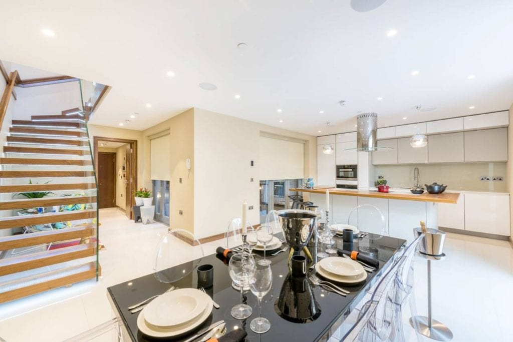 Rutland Gate – basement kitchen and staircase