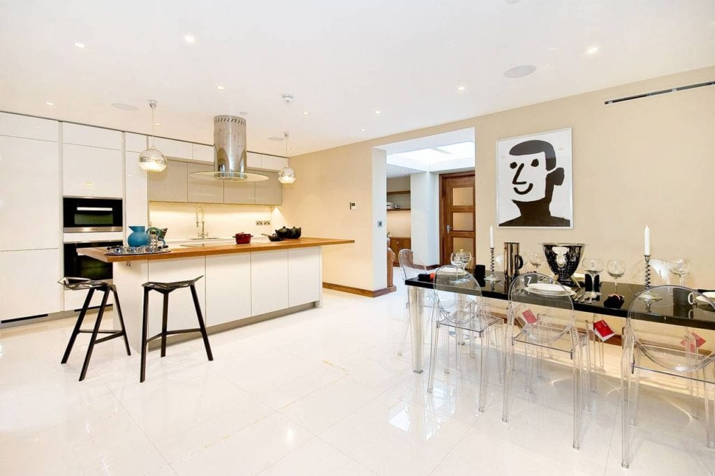 Rutland Gate – kitchen and dining area