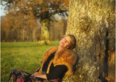 Relaxation. An outdoor autumn  portrait.