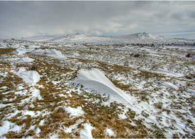 Winter on Dartmoor looking across to Widgery Cross and Brat Tor.
