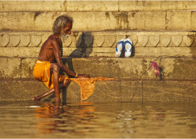 Washing on the ghats, Varanasi, India