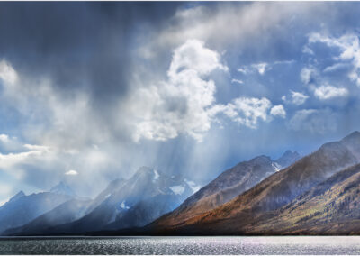 Stormy sky over Jackson lake and the Grand Tetons, Wyoming