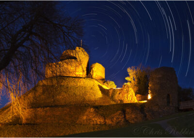 Launceston castle by night