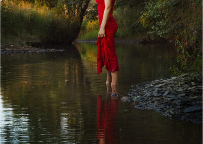 woman; stream; river; outdoor; water; wood; natural; pool; caucasian; beauty; fun; scenic; beautiful; refreshing; bathing; relaxing; attractive; woods; girl; idillyc; lonesome; lonely; female; carefree; alonedress; wanderlust; colorful; model; elegance; reflection; relaxation; green; countryside; sceneic; red; standing; shape; young; sitting
