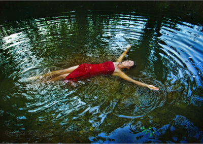 woman; stream; river; outdoor; water; wood; natural; pool; caucasian; beauty; fun; scenic; beautiful; refreshing; bathing; relaxing; attractive; woods; girl; idillyc; lonesome; lonely; female; carefree; alonedress; wanderlust; colorful; model; elegance; reflection; relaxation; green; countryside; sceneic; red; float; floating; star; shape; young