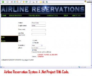 Airline Reservation Systems a  Net Project With Code