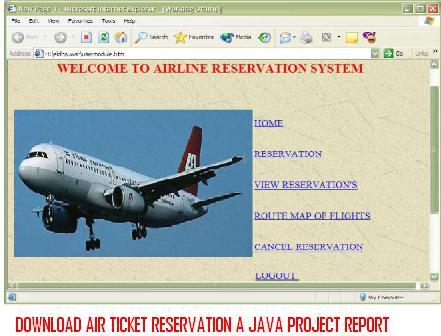 Download Air Ticket Reservation a Java Project Report – 1000