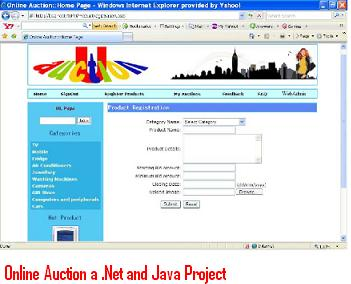Online Auction a  Net and Java Project – 1000 Projects