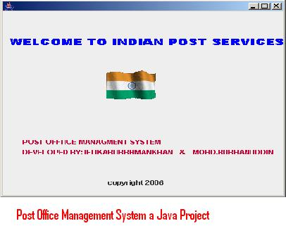 Post Office Management System a Java Project