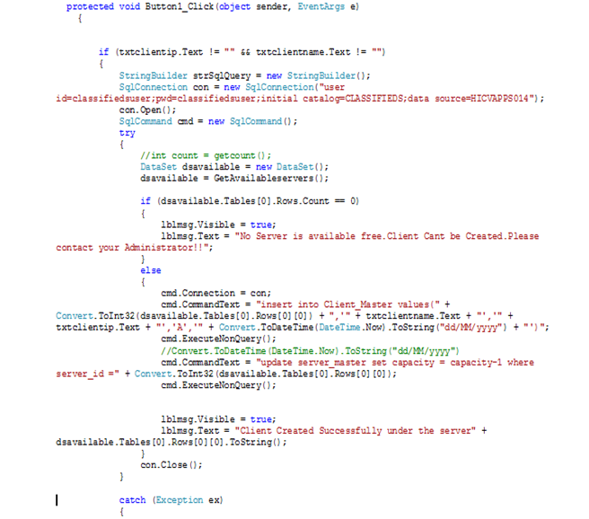 Code behind the create button of the Client creation Page